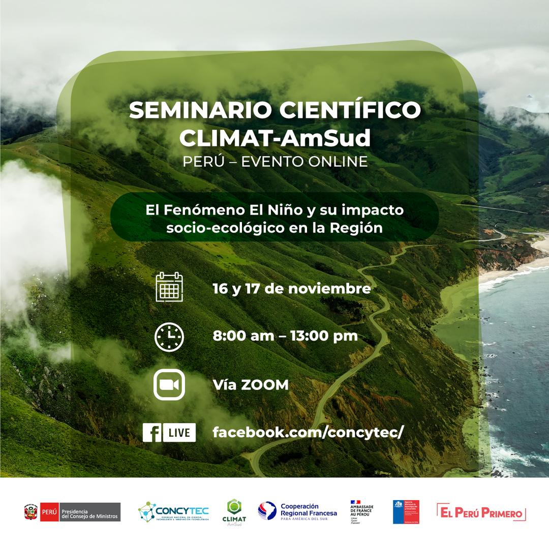 """INVESTIGACION - FORMACION. Seminario científico CLIMAT AmSud: """"El fenómeno de El Niño y su impacto socio-ecológico en la Región"""""""