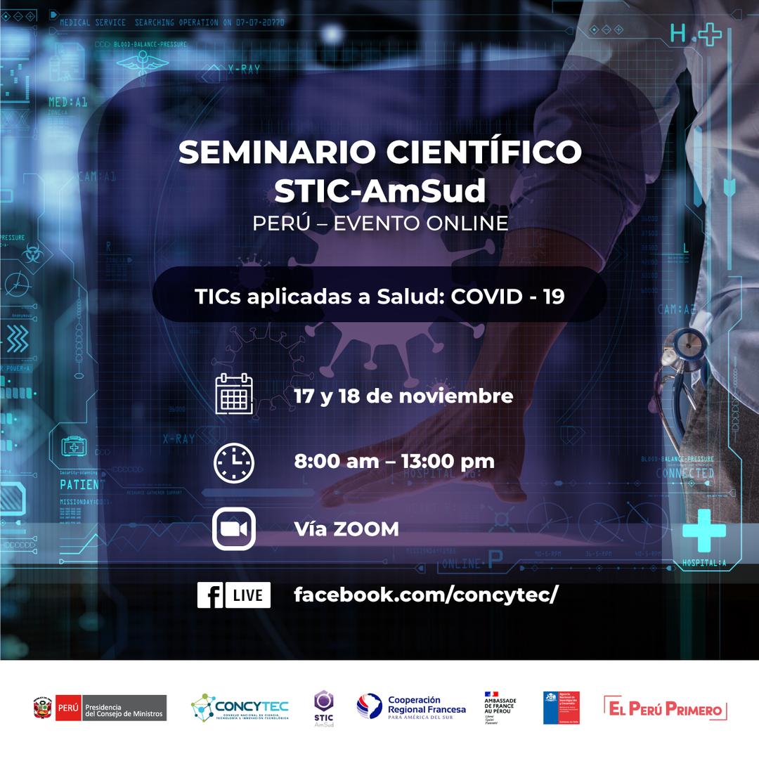 """INVESTIGACION - FORMACION. Seminario científico STIC AmSud """"TICs aplicadas a Salud: COVID-19"""""""